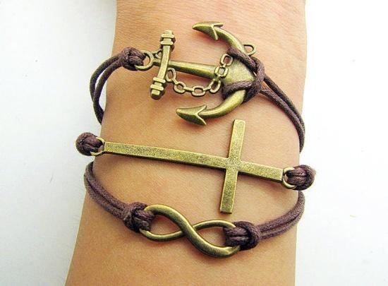 Bronze Cross& Anchor And Infinity Wish Bracelet
