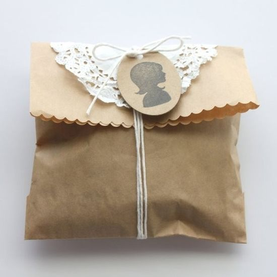 brown paper bag, doily, twine and a cute tag...so sweet.