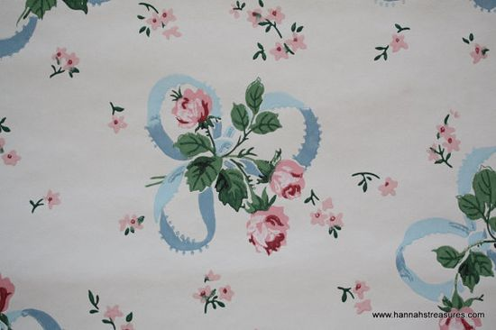 1930's Vintage Wallpaper  Blue Ribbon and Pink ? by HannahsTreasures