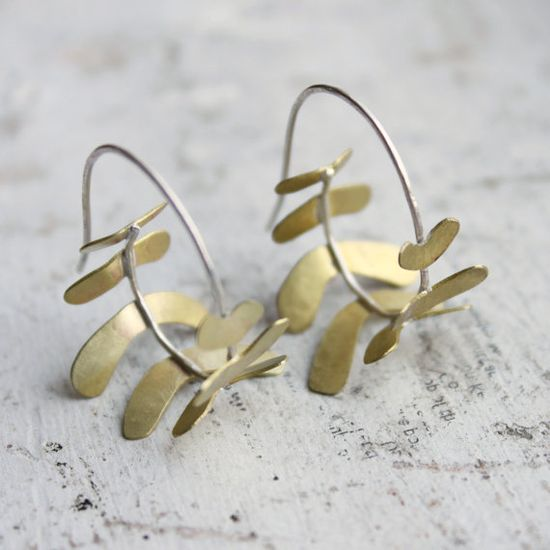 Sterling Silver and Gold tone Hoops  Fern Frond Hoops
