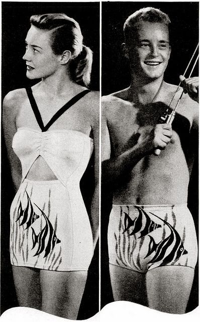 His & hers matching Catalina angel fish bathing swim suits, late 1940s