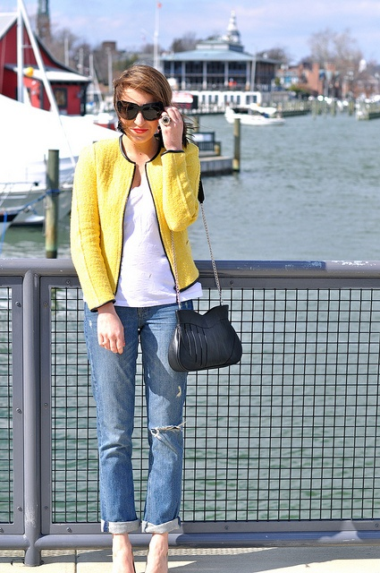 #neon yellow tweed, jeans & a white tee!
