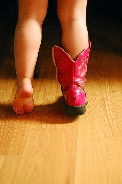 pink cowgirl boots.