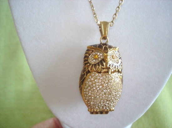 Victoria Wieck Owl Jewelry Watch or Pill Box Pendant Clear Topaz Rhinestone Gold
