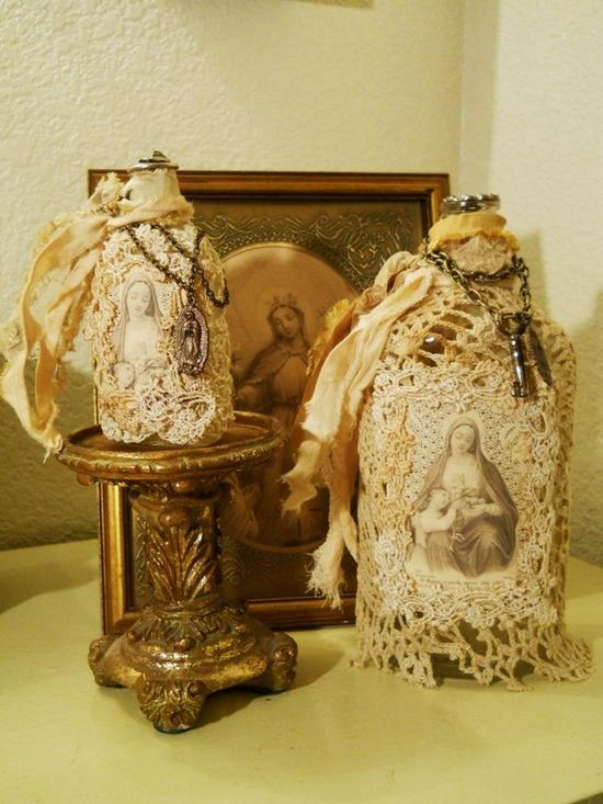 art altered vintage bottles religious