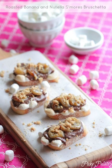Roasted Banana and Nutella S'mores Bruschetta - Picky Palate  #aggiesbaby