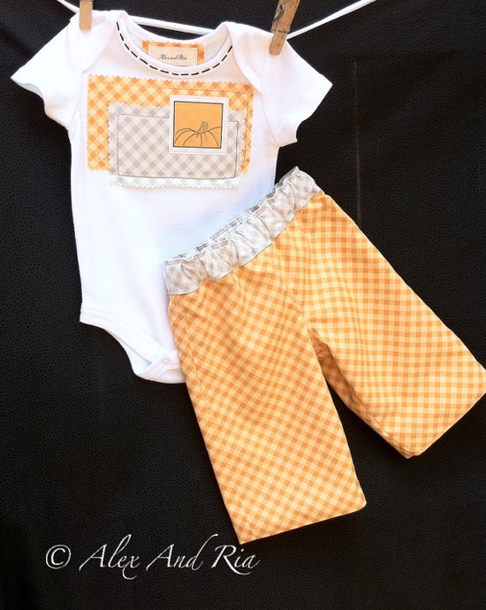 Fall Baby Outfit - Reversible Pants