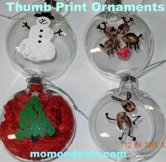 Christmas Crafts for Kids - Thumb Print Christmas Ornaments