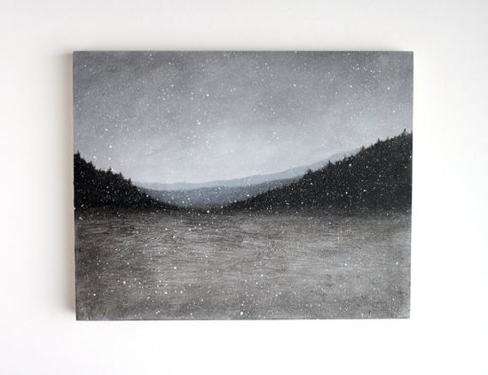 Snowfall - Black and White Oil Painting - 8 x 10. [treehollowdesigns]