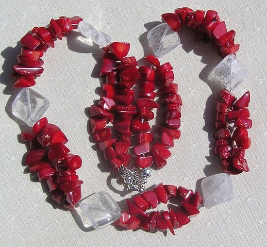 Clear Quartz & Natural Red Coral Crystal Gemstone by SunnyCrystals, £18.75