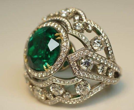 13-Carat Emerald and Diamond Platinum Ring