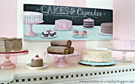 """""""Cakes & Cupcakes"""" Mixed Media painted sign by Everyday is a Holiday #kitchen #cafe #retro #vintage #bakery #decor #sign"""