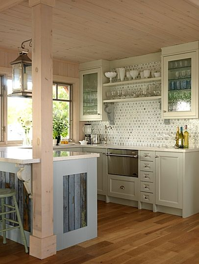 "Country Cottage Kitchen, love the ""modern"" glass tile incorporated into country charm!"