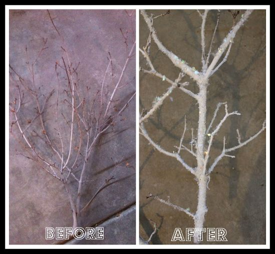 #DIY frosted tree branches - same Epson salt idea painted white first with twinkle flakes added