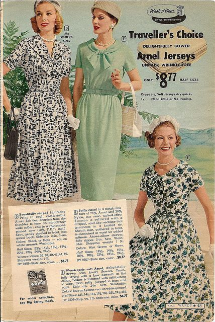 I'd happily wear any of these three lovely late 50s summer dresses (love bow necklines!). #vintage #dress #retro #fashion #1950s #dress #summer #hat #gloves