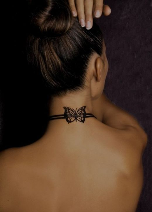 Butterfly Tattoo on Back of Neck