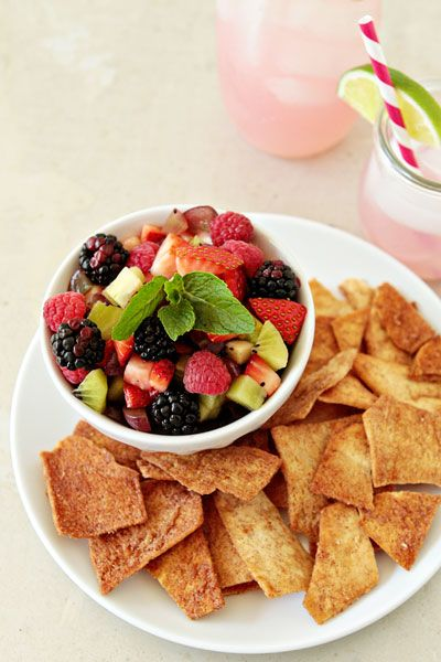 Fruit Salsa and Cinnamon Sugar Chips. A healthier summer dessert! Great with greek yogurt fruit dip :)