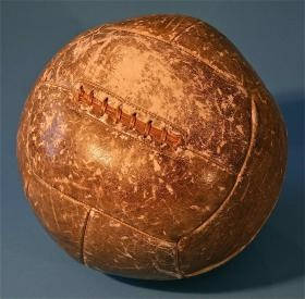 Antique Sporting Leather Workout Exercise Medicine Ball
