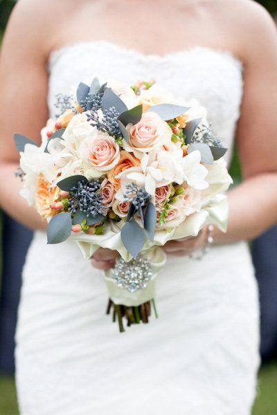 Gray & Peach Wedding Bouquet