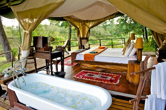 Africa's wildest outdoor bath tubs at Mara Explorer (by Heritage Hotels Kenya)