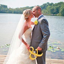 A gorgeous DIY Michigan wedding with a pretty yellow & grey ribbon theme...