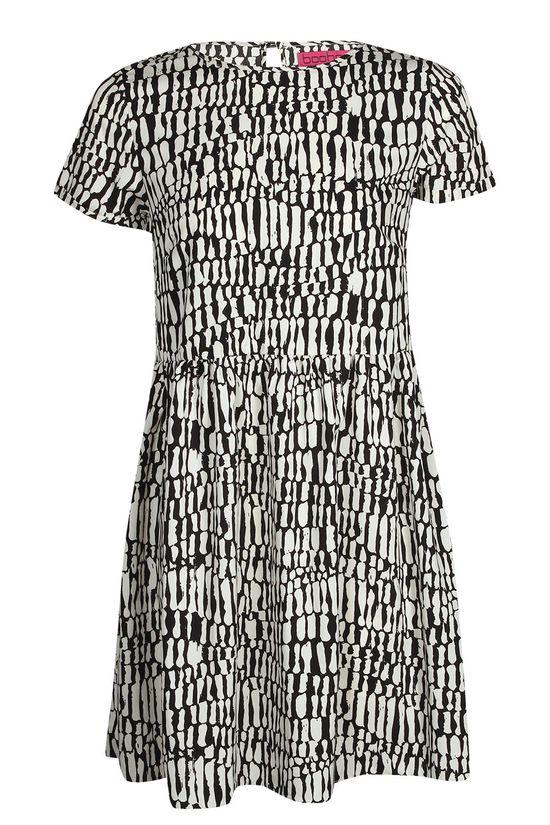 Lulu Monochrome Turn Back Sleeve Dress at boohoo.com