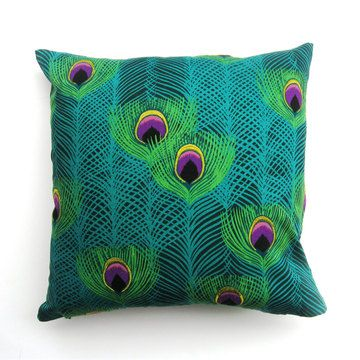 Green Peacock Pillow by The Divine Chair. Screen-printed fabric