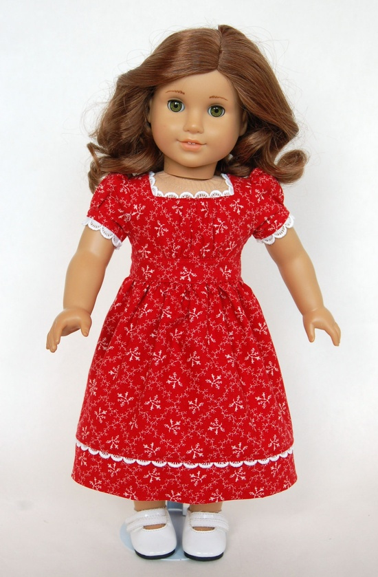 Doll Dress - Red with White Lace