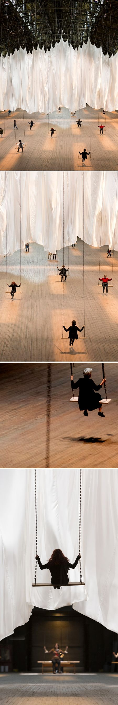 """Now until January 6, 2013 at Wade Thompson Drill Hall at the Park Avenue Armory.  Artist Ann Hamilton's installation """"the event of a thread"""".  You get to swing!"""