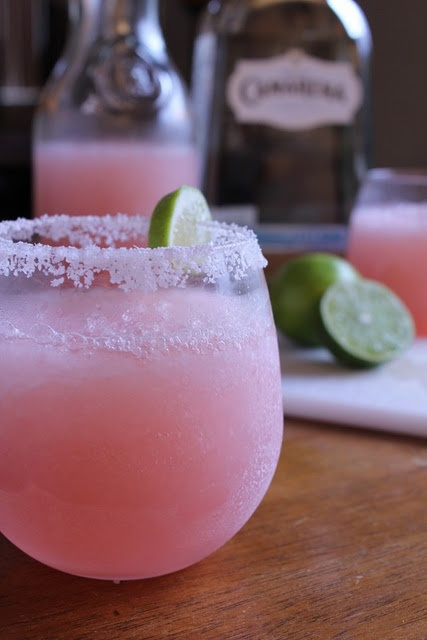 Pink grapefruit margaritas: 1 cup ruby red grapefruit juice 1/2 cup fresh squeezed lime juice (about 4 limes) 1 cup triple sec orange liqueur 3 cups ice 1 cup silver tequila 1 lime cut in wedges, optional Kosher salt.