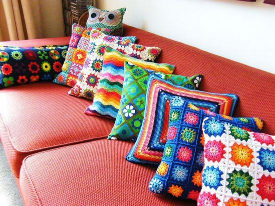 Love this assortment of crochet pillows!