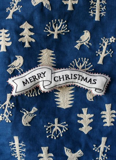 tree bird christmas - embroidery