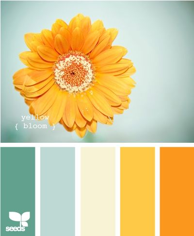 Love these colors for a living room! Green for the walls (with the complimenting green for a rug or curtains maybe?), cream for the sofa, pops of yellow and orange for spring/summer (which can easily be changed out with other colors as the seasons change). Light and fresh.