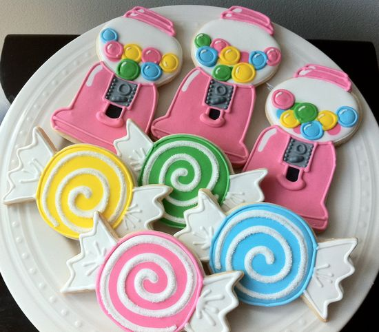 Decorated Sweet Candy Shoppe Birthday Cookies- bubblegum machines and candies, great favors. $48.00, via Etsy.