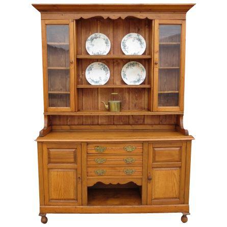 Antique Pine China Cabinet Hutch Antique Furniture