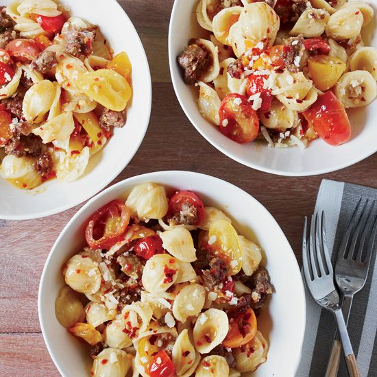 Orecchiette with Sausage and Cherry Tomatoes // More Meaty Pastas: www.foodandwine.c... #foodandwine