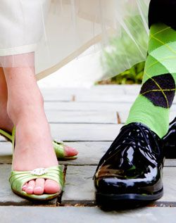 Show off your style! Green wedding shoes and groomsmen socks. \ Photo By: Dani Leigh Photography