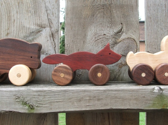 Wooden pull toys.