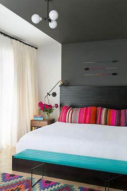 Stylish bedroom decor--bright pops of neon pink and aqua blue #bedroom #design #interiors #pretty #fun #unique #contemporary