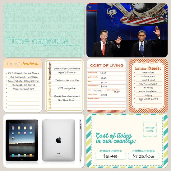 Idea: time capsule journaling cards for Project Life