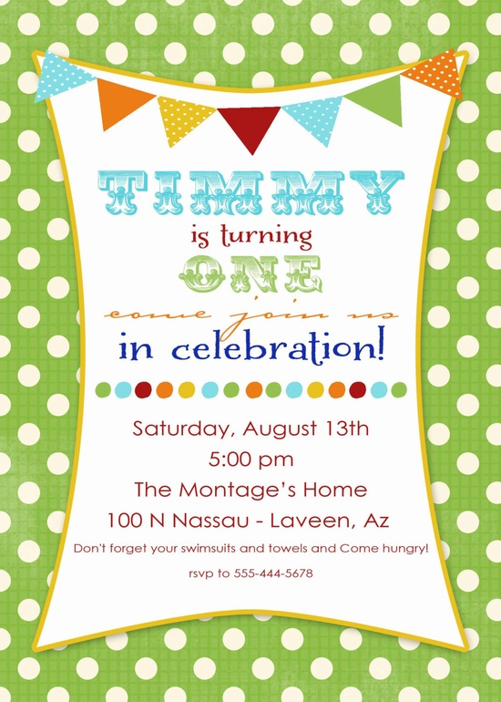 1st birthday party invitations with banner and by katiedidesigns