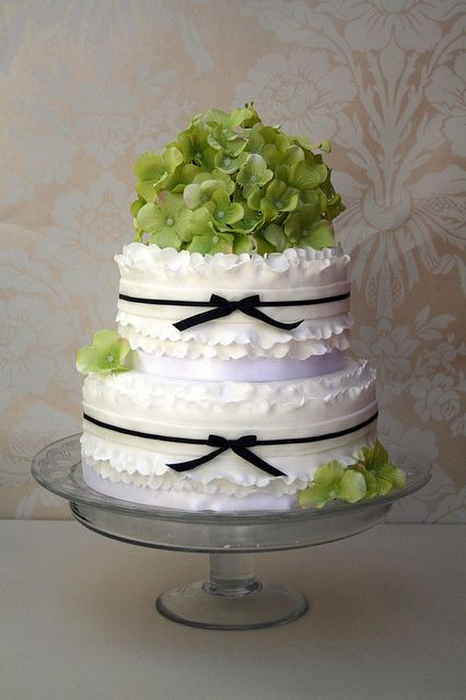 Green hydranger frilly wedding cake by The Cake Boutique, via Flickr
