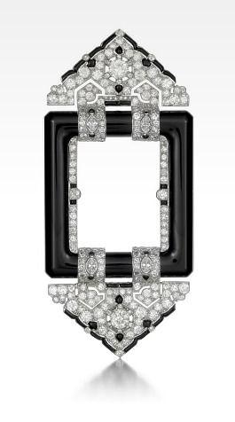 Art Deco Diamond and Black Onyx Brooch by Cartier, Paris, 1923.