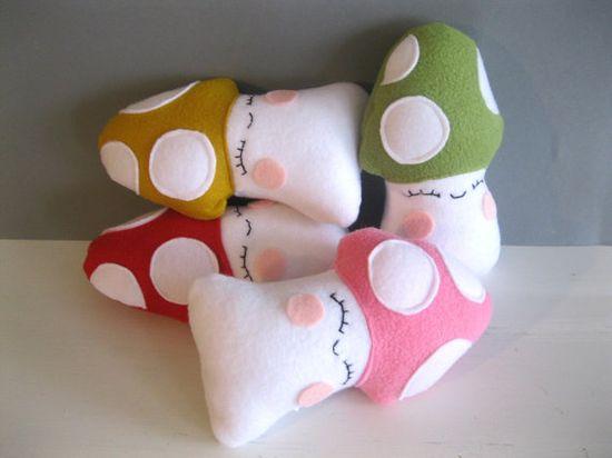 Happy Mushroom Plushie  Woodland Stuffed Toy