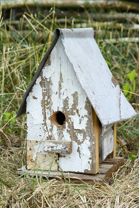 weathered birdhouse