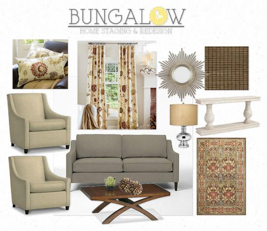 Classic living room design board by Bungalow Home Staging & Redesign using Pottery Barn, Ballard Designs and West Elm.
