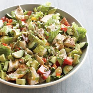 Chopped Salad with Lemon-Chipotle Dressing by williams-sonoma: This big salad, made with cooked chicken, is full of crunch and flavor and is perfect for a night when you don't want to cook. Bold chipotle chilies perk up the lemon-basil dressing. Sub your favorite veggies.  #Salad #Chicken #Healthy