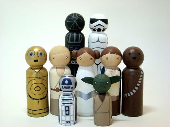 Star Wars peg dolls...gotta make of set of these for Logan.