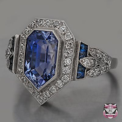 Antique Art Deco sapphire/diamond engagement ring
