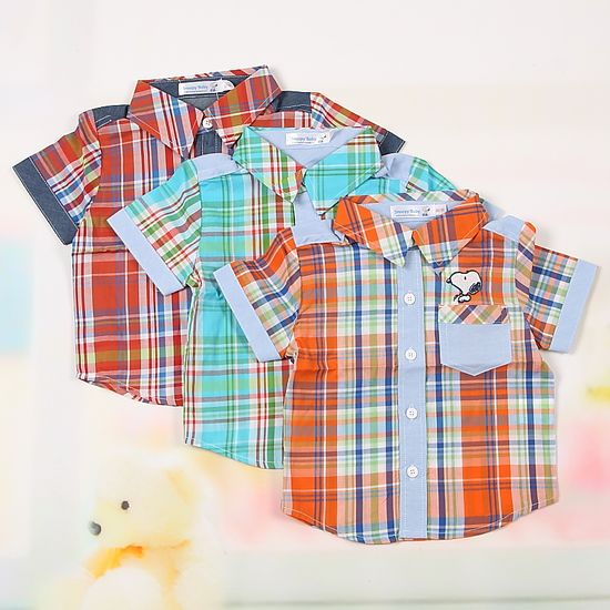 Snoopy children's clothing summer 100% cotton short-sleeve plaid shirt baby boy male child top